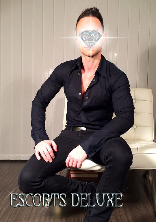 Male luxury escort with strong arms and irresistible smile